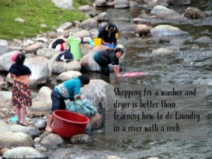 Shopping for a washer dryer is better than learning how to do laundry in a river with a rock. DearKidLoveMom.com