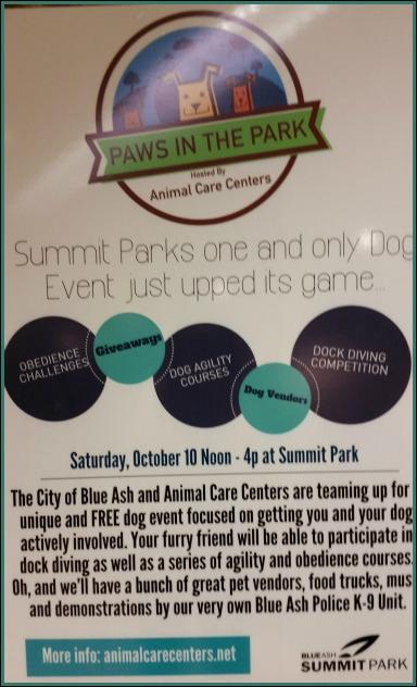 Paws In the Park, Summit Park, Blue Ash. DearKidLoveMom.com