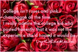 College isn't roses and pink champagne all the time. I really admire the college kid who posted honestly that it was not the experience she'd hoped it would be. DearKidLoveMom.com