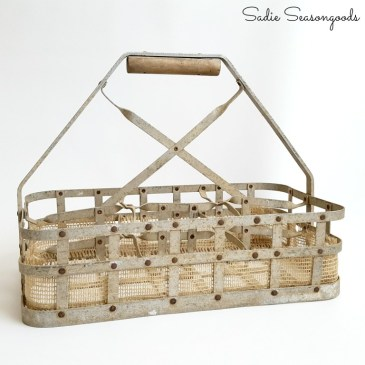 7_adding_burlap_ribbon_to_bottom_edge_of_vintage_milk_bottle_carrier_basket_crate_Sadie_Seasongoods