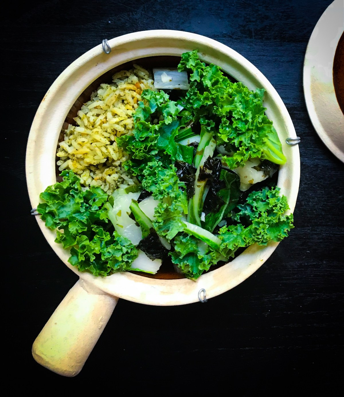 Vegetarian meal prep recipes just for you! Green rice, kale, bok choy, nori!