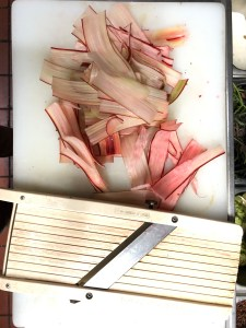 Sliced rhubarb for the sticky bun recipe