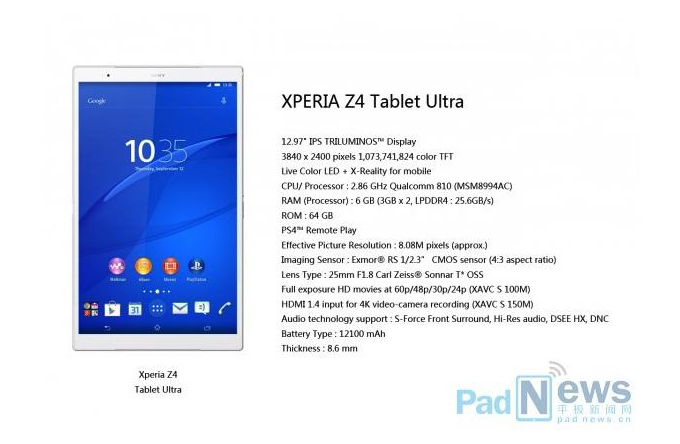 Rumores Xperia Z4 Tablet Ultra