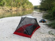 Camping on a sandy bend upstream from the park