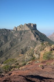 Long view of the saddle from the top of the trail