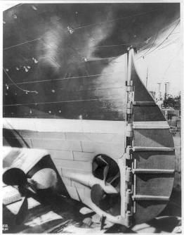Titanic's rudder on the dry dock