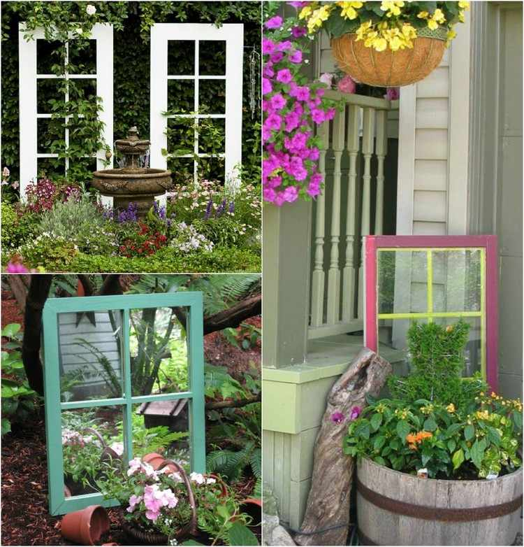55 Ideen für Gartendeko aus alten Fenstern und Türen