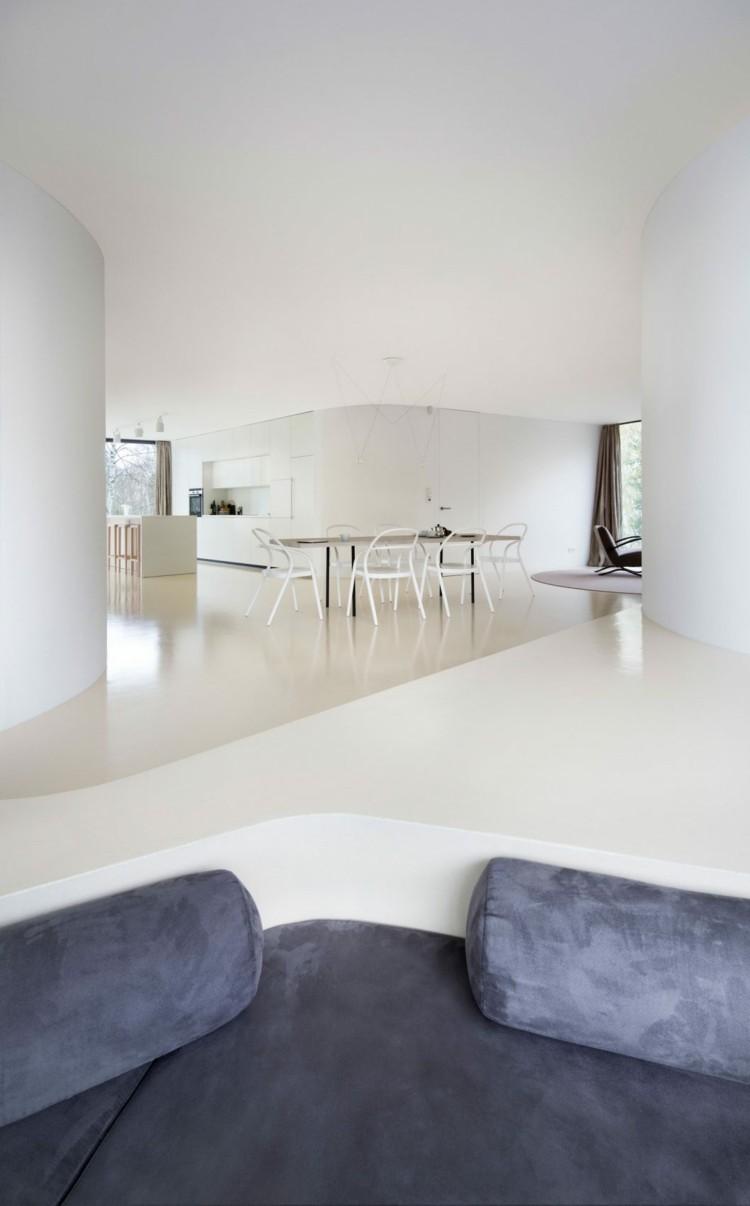 Eingelassene Sitzecke Im Wohnzimmer Im Minimalitischen