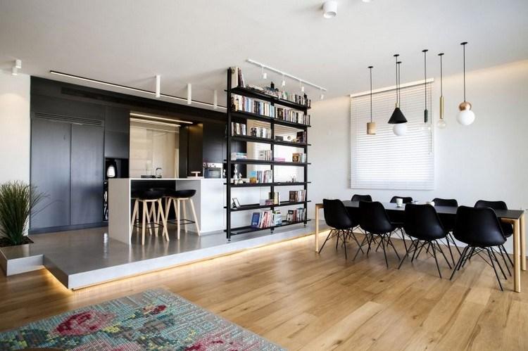 moderne offene kuche im wohnzimmer ein penthouse in israel innendesign 1 18