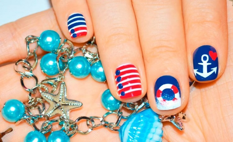 Painting nautical nails Motives draw ideas