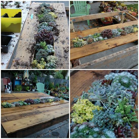 Table De Jardin En Palettes Avec Jardinire Incorpore