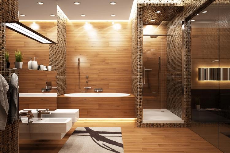 salle de bain bois revetement de sol