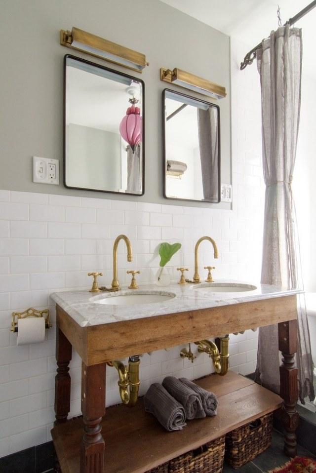 double vasque meuble ancien deco salle bains vintage