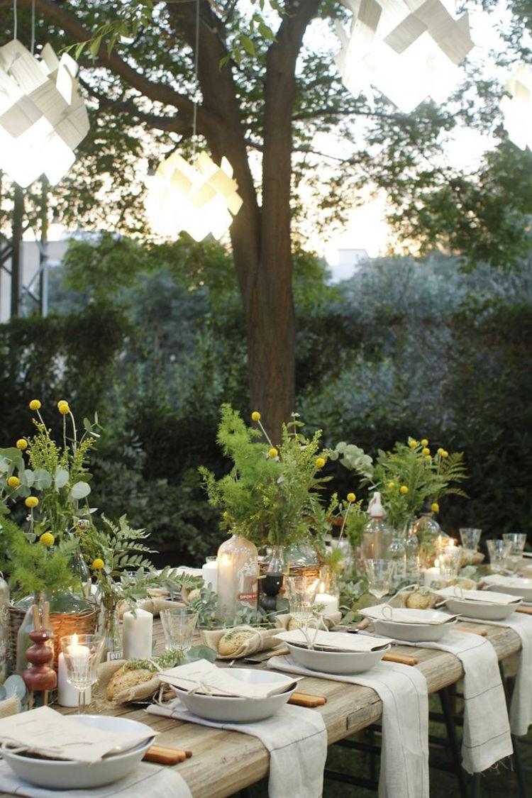 decoration table mariage rectangulaire de style champetre ou vintage deco de fete 10 20