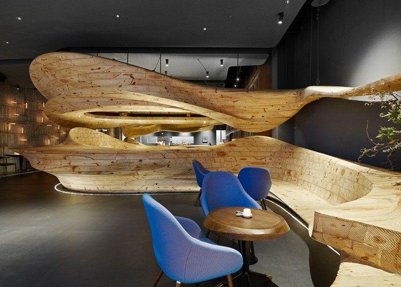 Bar En Bois Massif De Design Organique Restaurant RAW