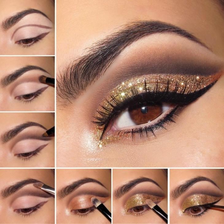 idees-maquillage-ete-trait-eye-liner-mascara-fard-paupières-pailleté-or
