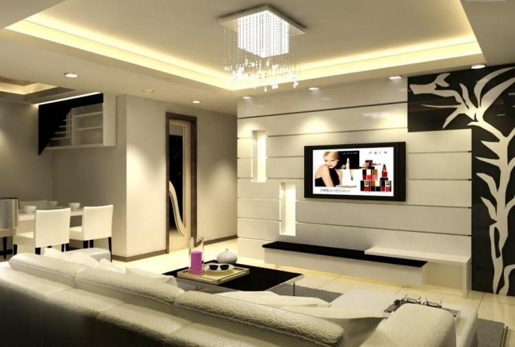 Ensemble Mural Tv à LED Pour Le Salon Moderne– 50 Idées