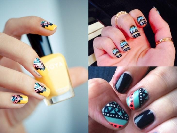 nail-art-motif-azteque-couleur-bleu-noire-jaune