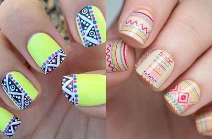 nail-art-motif-azteque-couleur-jaune-blanc-noir