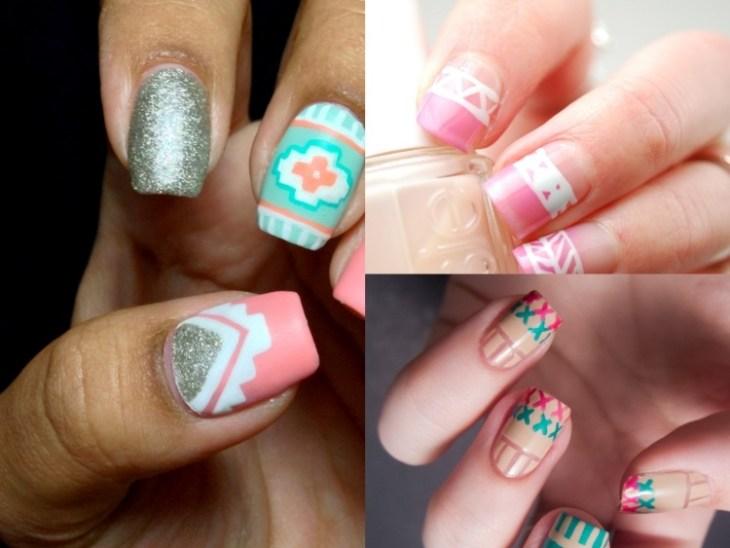 nail-art-motif-azteque-couleur-rose-blanche