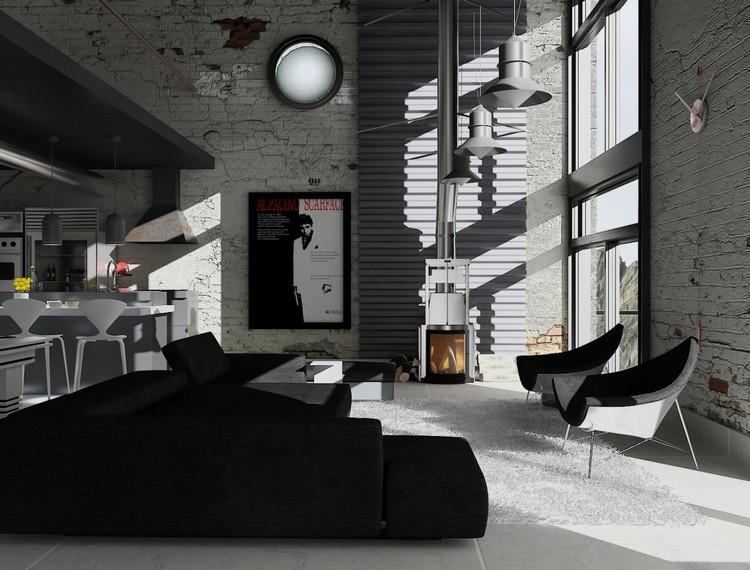 salon noir et blanc et salon gris en 50
