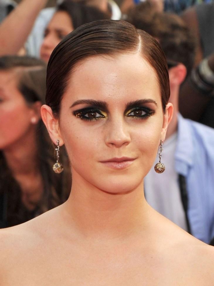 comment-bien-maquiller-automne stars smokey eyes paillettes dorées Emma Watson
