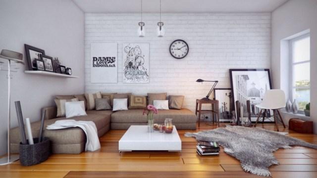 decoration-salon-canapé-angle-rembourré-coussins-décoratifs-tapis-fausse-fourrure-mur-brique-blanche