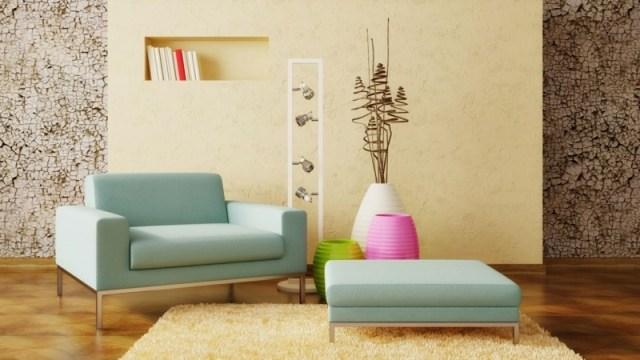 decoration-salon-fauteuil-ottoman-bleu-pâle-peinture-murale-beige-marron-3d