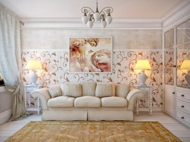decoration-salon-tableau-statues-idée-romantique-lambris-mural-bois-motifs-arabesques décoration de salon