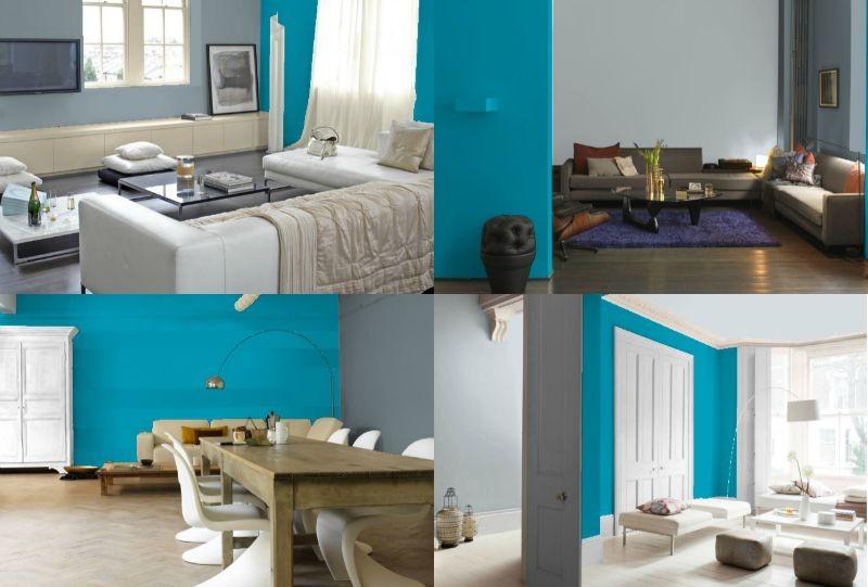 bleu turquoise et gris deco et