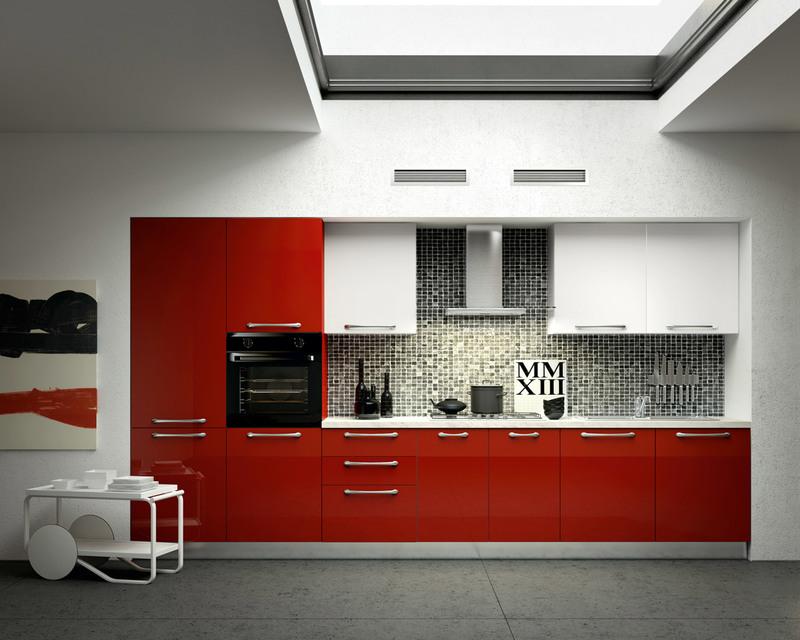 cuisine rouge et grise qui incarne l