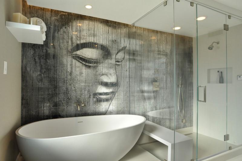 papier peint salle de bain moderne 30 idees ingenieuses