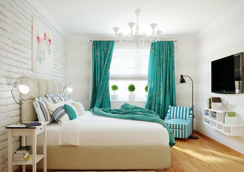rideau turquoise en 33 idees exotiques