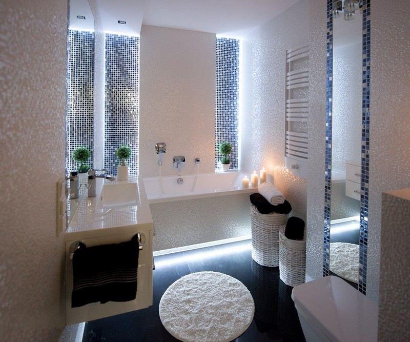 salle de bain noir et blanc ou en tons
