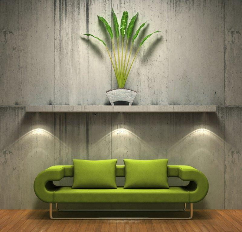 Canap Vert Dans Le Salon Contemporain Et Ides Dco Assortie