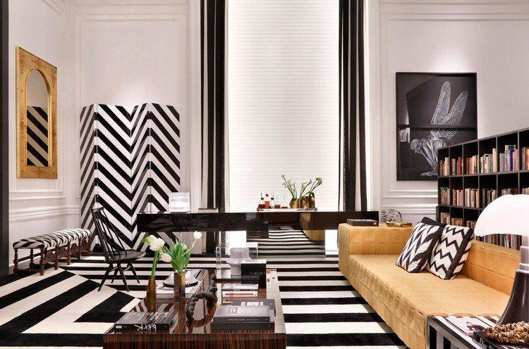salon noir et blanc aux accents de luxe