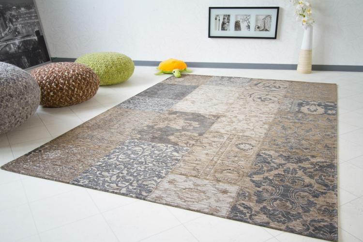 tapis patchwork vintage et tapis cuir