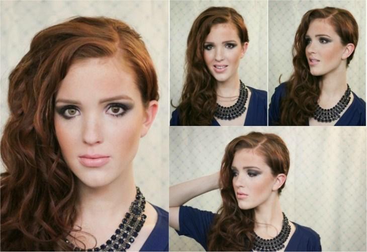 coiffure pour nouvel an cheveux-boucles-ramenes-cote