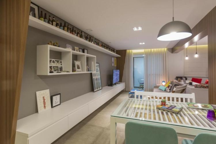 Meuble Tv Blanc Peinture Grise Et Dosseret Carreaux De Ciment