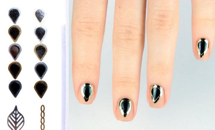 tatouages éphémères or argent-forme-gouttelette-vernis-pêche-noir