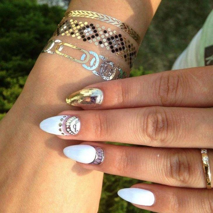 tatouages éphémères poignet ongles-amande-blanc-doré-stickers