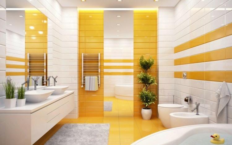 salle de bain en blanc et jaune