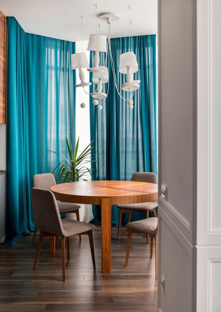 Rideau Bleu Vert Entre Turquoise Et Ptrole En Dco Moderne