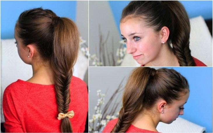 coiffure pour petite fille -demie-queue-cheval-tresse-épi-blé