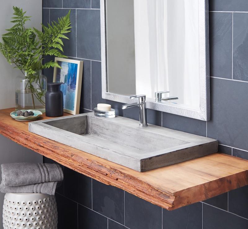 plan de travail salle de bain en bois