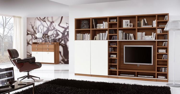 meuble tv bibliotheque blanc neige bois massif fauteuil relax cuir meuble tv bibliotheque en 40 idees pour organiser le rangement de facon optimale