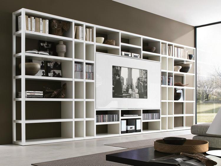 meuble tv bibliotheque blanc neige tapis gris anthracite meuble tv bibliotheque en 40 idees pour organiser le rangement de facon optimale