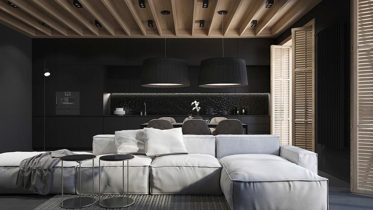 peinture noir mat et parement en bois