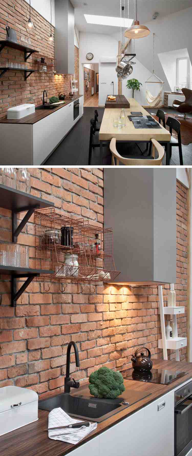 cool dco en poutres apparentes et briques exposes dans un loft en pologne with deco brique