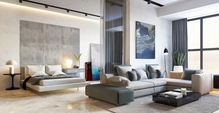 amenagement petit appartement baies vitrees mur beton canape gris amenagement petit appartement de luxe comment s y prendre design